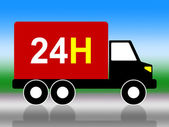 Truck Transport Indicates Twenty Four Hours And 24H — Stock Photo