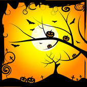 Sun Tree Means Trick Or Treat And Branch — Stock Photo