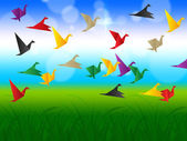 Sky Flying Represents Flock Of Birds And Escaped — Stock Photo