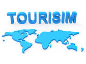 World Tourism Represents Planet Travelling And Earth — Foto Stock