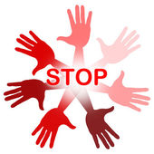 Hands Warning Represents Red Disapproval And Refusal — Stock Photo