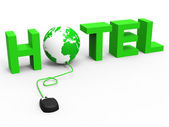 Hotel Global Indicates World Wide Web And Accommodation — Stock Photo