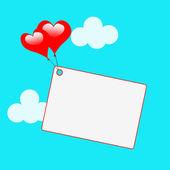 Copyspace ετικέτα δείχνει σχήματα καρδιάς και κάρτα — Φωτογραφία Αρχείου