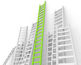 Ladders Obstacle Indicates Overcome Obstacles And Challenge — Stock Photo
