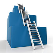Ladder Growth Represents Increase Development And Steps — Stok fotoğraf