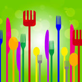 Forks Knives Shows Utensil Food And Green — Stock Photo
