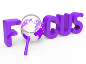 Focus Magnifier Represents Focused Research And Concentration — Stock Photo