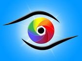 Eye Blue Represents Color Swatch And Colour — 图库照片
