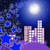 City Star Indicates Full Moon And Cityscape — Stock Photo