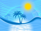 Palm Tree Indicates Tropical Climate And Coastline — Stock Photo
