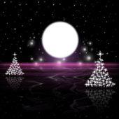 Xmas Tree Indicates Merry Christmas And Astronomy — Stock Photo