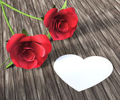 Heart Roses Indicates Valentine Day And Bloom — Stock Photo