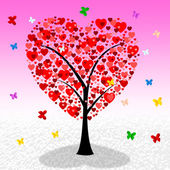 Tree Hearts Indicates Valentine's Day And Affection — Stok fotoğraf