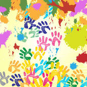 Splash Handprints Indicates Colorful Blobs And Human — Stock Photo