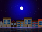 Moon Night Indicates Astronomy House And Residential — Stock Photo