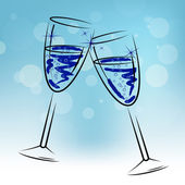 Champagne Glasses Means Beverage Fun And Congratulations — Stock Photo