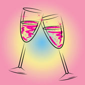 Champagne Glasses Shows Sparkling Wine And Beverage — Stock Photo