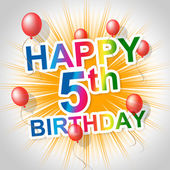 Happy Birthday Means Five Congratulations And Greetings — Stock Photo