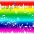 Rainbow Music Background Shows Musical Piece And Instrument — Stock Photo