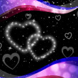 Twinkling Hearts Background Means Night Sky And Lov — Stock Photo #48869213