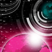 Planet Background Shows Sending And Receiving Dat — Stok fotoğraf