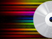 CD Background Shows Compact Disc And Colorful Beam — Stock Photo