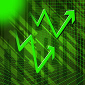 Green Arrows Background Means Increased Profit Or Sale — Stock Photo