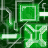 Green Lines Background Means Data Pathway And Connection — Stock Photo
