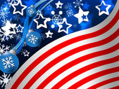 American Flag Background Means Snowing Winter And State — Stock Photo