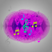 Purple Music Background Shows CD Record Or Po — Stock Photo