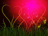 Grass Heart Background Shows Romantic Summer Or Garde — Stock Photo