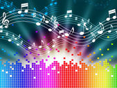 Rainbow Music Background Means Melody Singing And Soundwave — Stock Photo