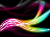 Flourescent Swirls Background Means Rainbow Lines In Darknes — Stock Photo