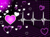 Purple Heart Background Means Organ Blood And Grid — Stock Photo