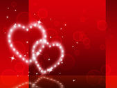 Red Hearts Background Shows Fondness Special And Sparklin — Foto de Stock