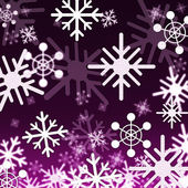 Purple Snowflakes Background Shows Snowing Winter And Season — Stock Photo