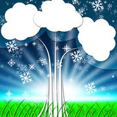 Tree Background Shows Snowflakes Snowing And Winte — Stock Photo