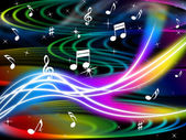 Music Swirls Background Shows Flourescent Musical And Tun — Stock Photo