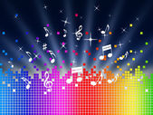 Rainbow Music Background Shows Harmony Sounddwaves Or Piec — Stock Photo
