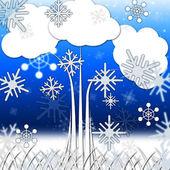 Fondo de árbol significa ramas hojas y copo de nieve — Foto de Stock