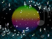 Music Ball Background Means Rainbow And Singers — Stock Photo