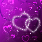 Purple Hearts Background Shows Romantic Fond And Glitterin — Stock Photo