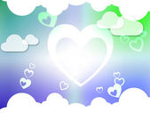 Hearts And Clouds Background Shows Passion  Love And Romanc — Foto de Stock