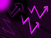 Purple Arrows Background Means Upwards Rise And Directio — Stock Photo