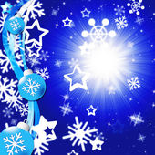 Blue Snowflakes Background Shows Bright Sun And Snowin — Stock Photo