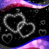 Twinkling Hearts Background Means Night Sky And Lov — Zdjęcie stockowe