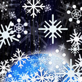 Snowflakes Background Shows Snowing From Sky And Col — Stock Photo