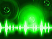 Sound Wave Background Shows Glowing Background Or Equalizer Wall — Foto de Stock