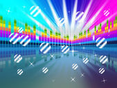 Colorful Soundwaves Backround Means Music Sparkles And Party — Stock Photo