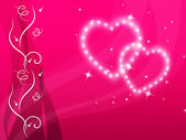 Pink Hearts Background Means Love Family And Flora — Stock Photo